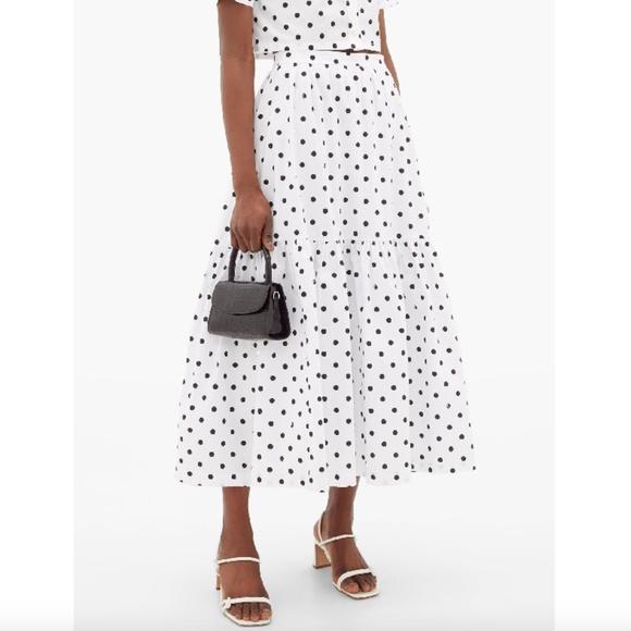 STAUD Polka Dot Yin Yang Black + White Maxi Skirt